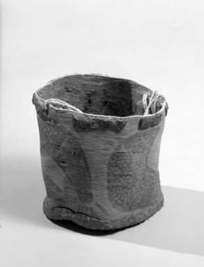 Aboriginal Australian. <em>Bark Bucket</em>, 19th-20th century. Bark, gum, plant fibre, ochre, 6 1/8 x 5 7/8 in. (15.5 x 15 cm). Brooklyn Museum, Gift of Mr. and Mrs. Allan Gerdau, 62.108. Creative Commons-BY (Photo: Brooklyn Museum, 62.108_acetate_bw.jpg)