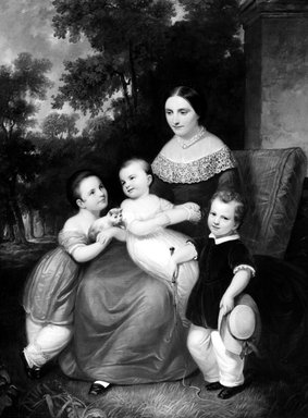 Daniel Huntington (American, 1816-1906). <em>Ellen Almira Low and Her Three Children</em>, 1847. Oil on canvas, 64 x 53 15/16 in. (162.5 x 137 cm). Brooklyn Museum, Gift of Mrs. William Raymond, 62.155 (Photo: Brooklyn Museum, 62.155_bw.jpg)