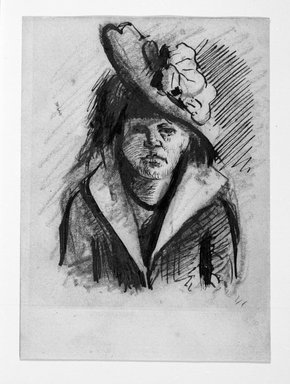 Vincent van Gogh (Dutch, 1853-1890). <em>Portrait of a Woman with Hat</em>. Pen, ink, pencil on wove paper, 5 1/8 x 3 3/4 in. (13 x 9.5 cm). Brooklyn Museum, Gift of Mr. and Mrs. Simon Askin, 62.182 (Photo: Brooklyn Museum, 62.182_bw.jpg)