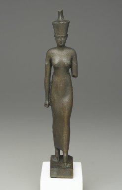 <em>Statuette of Goddess Neith</em>, 664–525 B.C.E. Bronze, 11 x 2 1/4 x 3 in. (27.9 x 5.7 x 7.6 cm). Brooklyn Museum, Gift of Dr. Dorin Ischlondsky, 62.1. Creative Commons-BY (Photo: Brooklyn Museum, 62.1_front_PS2.jpg)