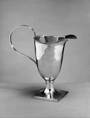 <em>Creamer</em>, ca. 1790. Silver, 5 3/4 in. (14.6 cm). Brooklyn Museum, Gift of Olive Hoyt, 62.28. Creative Commons-BY (Photo: Brooklyn Museum, 62.28_acetate_bw.jpg)