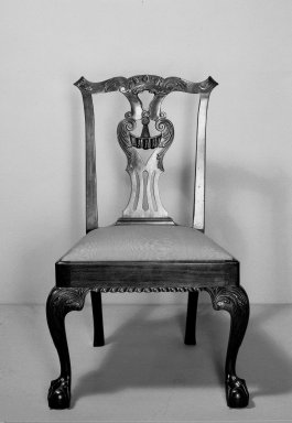 American. <em>Side Chair, One of Set</em>, ca. 1760-1770. Carved mahogany, Chippendale style, 33 1/2 x 24 x 21 1/2 in. (85.1 x 61 x 54.6 cm). Brooklyn Museum, Dick S. Ramsay Fund, 62.3.2. Creative Commons-BY (Photo: Brooklyn Museum, 62.3.2_front_acetate_bw.jpg)