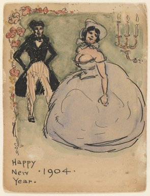 Walt Kuhn (American, 1877-1949). <em>Happy New Year</em>, 1904. Pen and ink and watercolor on paper, Sheet: 4 5/8 x 3 1/2 in. (11.7 x 8.9 cm). Brooklyn Museum, Gift of Brenda Kuhn, 62.32.7. © artist or artist's estate (Photo: Brooklyn Museum, 62.32.7_IMLS_PS3.jpg)