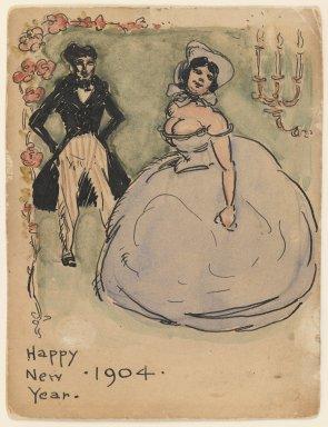 Walt Kuhn (American, 1877-1949). <em>Happy New Year</em>, 1904. Pen and ink and watercolor on paper, Sheet: 4 5/8 x 3 1/2 in. (11.7 x 8.9 cm). Brooklyn Museum, Gift of Brenda Kuhn, 62.32.7. © artist or artist's estate (Photo: Brooklyn Museum, 62.32.7_IMLS_PS3.jpg)
