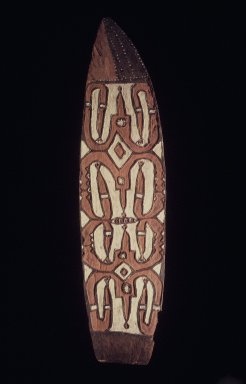 Asmat. <em>Shield (Jamasj)</em>, 20th century. Wood, pigment, 80 x 20 1/2 x 3 1/4 in. (203.2 x 52.1 x 8.3 cm). Brooklyn Museum, Gift of Stanley Ross, 62.55.11. Creative Commons-BY (Photo: Brooklyn Museum, 62.55.11.jpg)