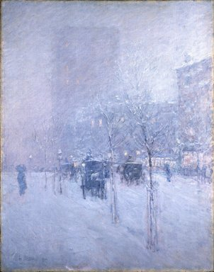 Frederick Childe Hassam (American, 1859-1935). <em>Late Afternoon, New York, Winter</em>, 1900. Oil on canvas, 36 15/16 x 29 in. (93.8 x 73.7 cm). Brooklyn Museum, Dick S. Ramsay Fund, 62.68 (Photo: Brooklyn Museum, 62.68_SL1.jpg)