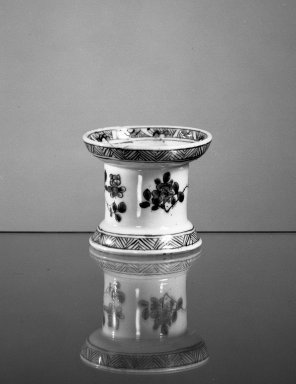 <em>Pounce Pot</em>, ca. 1661-1722. Porcelain, 2 1/2 x 2 7/8 in. (6.4 x 7.3 cm). Brooklyn Museum, Gift of H. Randolph Lever in memory of Mary E. Lever, 62.78.17. Creative Commons-BY (Photo: Brooklyn Museum, 62.78.17_acetate_bw.jpg)