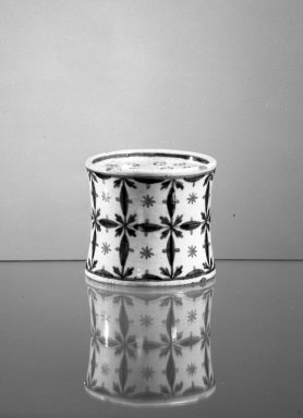 <em>Pounce Pot</em>, ca. mid 18th century. Earthenware, white glaze, 2 9/16 x 3 in. (6.5 x 7.6 cm). Brooklyn Museum, Gift of H. Randolph Lever in memory of Mary E. Lever, 62.78.2. Creative Commons-BY (Photo: Brooklyn Museum, 62.78.2_acetate_bw.jpg)