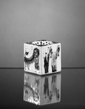<em>Pounce Pot</em>, ca. 1750-1800. Porcelain, 2 1/2 x 2 1/8 in. (6.4 x 5.4 cm). Brooklyn Museum, Gift of H. Randolph Lever in memory of Mary E. Lever, 62.78.3. Creative Commons-BY (Photo: Brooklyn Museum, 62.78.3_acetate_bw.jpg)