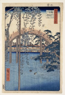 Utagawa Hiroshige (Ando) (Japanese, 1797-1858). <em>Inside Kameido Tenjin Shrine, from One Hundred Famous Views of Edo</em>, ca. 1857. Woodblock color print, Sheet: 14 7/16 x 9 5/8 in. (36.7 x 25.0 cm). Brooklyn Museum, Gift of Dr. and Mrs. Frank L. Babbott, Jr., 62.79.5 (Photo: Brooklyn Museum, 62.79.5_IMLS_SL2.jpg)