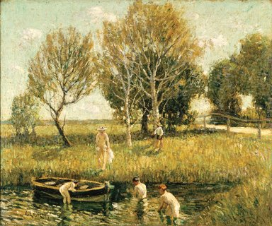 Ernest Lawson (American, 1873-1939). <em>Boys Bathing</em>, ca. 1908-1910. Oil on canvas, frame: 33 × 37 3/4 × 2 in. (83.8 × 95.9 × 5.1 cm). Brooklyn Museum, Gift of Mr. and Mrs. Russell Hopkinson, 62.80 (Photo: Brooklyn Museum, 62.80_SL1.jpg)