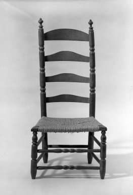 American. <em>Slat-Back Low Chair</em>, ca. 1720. Wood, maple, 40 1/2 x 19 1/2 x 16 1/2 in. (102.9 x 49.5 x 41.9 cm). Brooklyn Museum, Purchased with funds given by anonymous donors, 63.100.1. Creative Commons-BY (Photo: Brooklyn Museum, 63.100.1_acetate_bw.jpg)