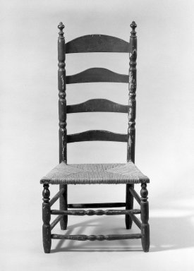 American. <em>Slat-Back Low Chair</em>, ca. 1720. Wood, maple, 40 x 19 1/4 x 14 3/4 in. (101.6 x 48.9 x 37.5 cm). Brooklyn Museum, Purchased with funds given by anonymous donors, 63.100.2. Creative Commons-BY (Photo: Brooklyn Museum, 63.100.2_acetate_bw.jpg)