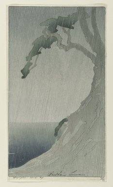 Bertha Lum (American, 1879-1954). <em>Rain</em>, 1908. Color woodcut on cream, thin, Japanese wove paper, Sheet: 11 1/2 x 6 1/2 in. (29.2 x 16.5 cm). Brooklyn Museum, Gift of the Achenbach Foundation for Graphic Arts, 63.108.2. © artist or artist's estate (Photo: Brooklyn Museum, 63.108.2_PS1.jpg)