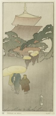 Bertha Lum (American, 1879-1954). <em>Temple in Rain</em>, 1916. Woodcut in color on Japan paper, Sheet: 10 7/8 x 5 1/8 in. (27.6 x 13 cm). Brooklyn Museum, Gift of the Achenbach Foundation for Graphic Arts, 63.108.7. © artist or artist's estate (Photo: Brooklyn Museum, 63.108.7_PS1.jpg)