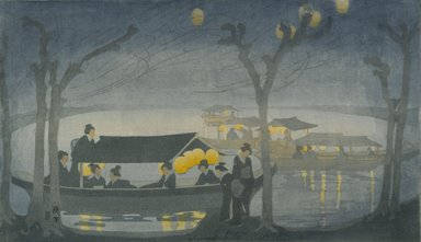 Bertha Lum (American, 1879-1954). <em>On the River</em>, 1913. Color woodcut on off-white, medium thick, moderately textured laid Japan paper, Image: 10 1/4 x 17 11/16 in. (26 x 44.9 cm). Brooklyn Museum, Gift of the Achenbach Foundation for Graphic Arts, 63.108.8. © artist or artist's estate (Photo: Brooklyn Museum, 63.108.8_PS1.jpg)