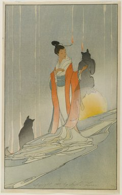 Bertha Lum (American, 1879-1954). <em>The Fox Woman</em>, 1923. Woodcut in color on Japan paper, Sheet: 17 x 10 5/8 in. (43.2 x 27 cm). Brooklyn Museum, Gift of the Achenbach Foundation for Graphic Arts, 63.108.9. © artist or artist's estate (Photo: Brooklyn Museum, 63.108.9_PS1.jpg)