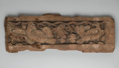 <em>Panel with Birds and Vines</em>, 8th century. Wood, 6 7/8 x 20 1/2 in. (17.5 x 52 cm). Brooklyn Museum, Gift of Nessim Cohen, 63.138. Creative Commons-BY (Photo: Brooklyn Museum, 63.138_PS2.jpg)