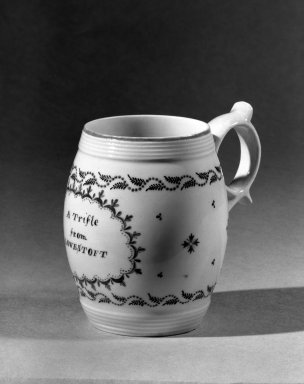 Lowestoft Porcelain Factory. <em>Small Jug</em>. Porcelain Brooklyn Museum, Gift of H. Randolph Lever, 63.143.3. Creative Commons-BY (Photo: Brooklyn Museum, 63.143.3_acetate_bw.jpg)