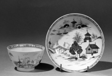 Lowestoft Porcelain Factory. <em>Cup and Saucer</em>. Bone porcelain Brooklyn Museum, Gift of H. Randolph Lever, 63.143.4a-b. Creative Commons-BY (Photo: Brooklyn Museum, 63.143.4a-b_acetate_bw.jpg)