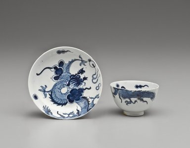 Lowestoft Porcelain Factory. <em>Tea Bowl and Saucer</em>, ca. 1770. Porcelain, Cup: 1 3/4 x 3 in. (4.4 x 7.6 cm). Brooklyn Museum, Gift of H. Randolph Lever, 63.143.8a-b. Creative Commons-BY (Photo: Brooklyn Museum, 63.143.8a-b_PS6.jpg)