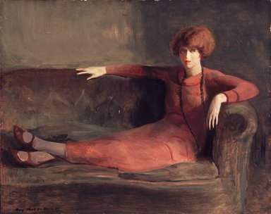 Guy Pène du Bois (American, 1884-1958). <em>Woman on Sofa</em>, ca. 1922-1927. Oil on panel, 26 x 31 in. (66 x 78.7 cm). Brooklyn Museum, Gift of Chester Dale, 63.148.1. © artist or artist's estate (Photo: Brooklyn Museum, 63.148.1_transp5690.jpg)
