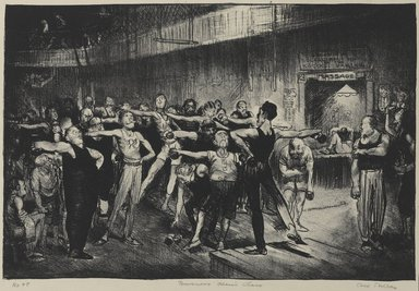 George Wesley Bellows (American, 1882-1925). <em>Business Men's Class (Business Men's Class, Y.M.C.A.)</em>, 1916. Lithograph on wove paper, Sheet: 16 x 23 11/16 in. (40.6 x 60.2 cm). Brooklyn Museum, Gift of Chester Dale, 63.155.10 (Photo: Brooklyn Museum, 63.155.10_PS1.jpg)