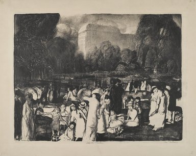 George Wesley Bellows (American, 1882-1925). <em>In the Park, Light</em>, 1916. Lithograph on beige, thin, slightly textured wove paper, Sheet: 19 7/8 x 24 7/8 in. (50.5 x 63.2 cm). Brooklyn Museum, Gift of Chester Dale, 63.155.11 (Photo: Brooklyn Museum, 63.155.11_PS2.jpg)