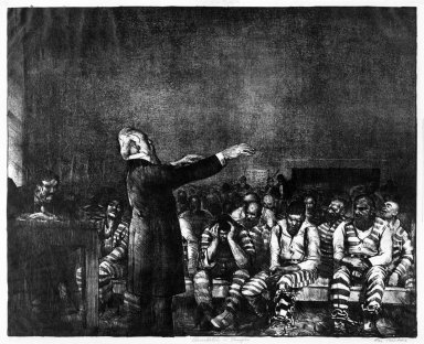 George Wesley Bellows (American, 1882-1925). <em>Benediction in Georgia</em>, 1916. Lithograph on wove paper, Image: 16 x 19 7/8 in. (40.6 x 50.5 cm). Brooklyn Museum, Gift of Chester Dale, 63.155.2 (Photo: Brooklyn Museum, 63.155.2_bw.jpg)