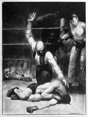 George Wesley Bellows (American, 1882-1925). <em>Counted Out No. 4</em>, 1921. Lithograph on wove paper, Image: 12 5/8 x 11 1/4 in. (32 x 28.6 cm). Brooklyn Museum, Gift of Chester Dale, 63.155.6 (Photo: Brooklyn Museum, 63.155.6_bw.jpg)