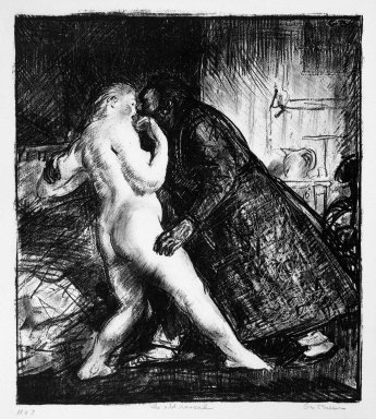 George Wesley Bellows (American, 1882-1925). <em>The Old Rascal</em>, 1916. Lithograph on wove paper, Image: 4 x 3 7/8 in. (10.1 x 9.9 cm). Brooklyn Museum, Gift of Chester Dale, 63.155.7 (Photo: Brooklyn Museum, 63.155.7_bw.jpg)