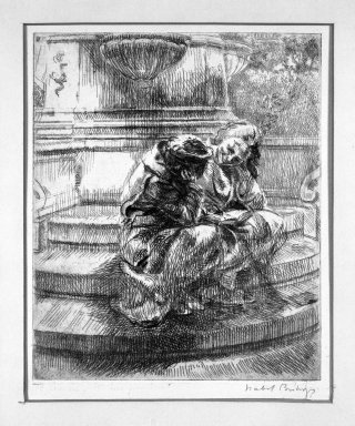 Isabel Bishop (American, 1902-1988). <em>Girls Sitting at Fountain in Union Square</em>, 1935. Etching on wove paper, Plate: 6 x 5 in. (15.2 x 12.7 cm). Brooklyn Museum, Dick S. Ramsay Fund, 63.160.1. © artist or artist's estate (Photo: Brooklyn Museum, 63.160.1_acetate_bw.jpg)