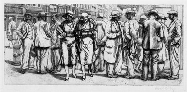 Isabel Bishop (American, 1902-1988). <em>On the Street</em>, 1934. Etching on wove paper, Plate: 5 x 11 in. (12.7 x 27.9 cm). Brooklyn Museum, Dick S. Ramsay Fund, 63.160.3. © artist or artist's estate (Photo: Brooklyn Museum, 63.160.3_bw.jpg)