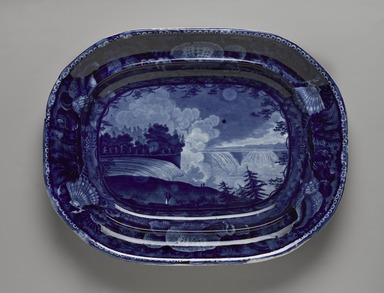"Enoch Wood & Sons (active 1818-1846). <em>Platter, ""Niagara from the American Side,""</em> ca. 1829-1846. Earthenware, 14 3/4 x 11 1/2 in. (37.5 x 29.2 cm). Brooklyn Museum, Gift of Mrs. William C. Esty, 63.186.17. Creative Commons-BY (Photo: Brooklyn Museum, 63.186.17_PS9.jpg)"