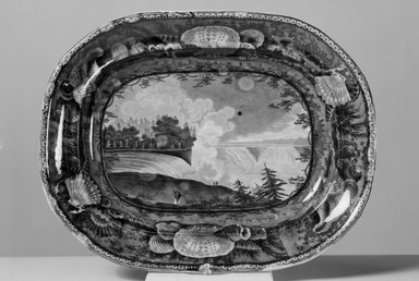 "Enoch Wood & Sons (active 1818-1846). <em>Platter, ""Niagara from the American Side,""</em> ca. 1829-1846. Earthenware, 14 3/4 x 11 1/2 in. (37.5 x 29.2 cm). Brooklyn Museum, Gift of Mrs. William C. Esty, 63.186.17. Creative Commons-BY (Photo: Brooklyn Museum, 63.186.17_bw.jpg)"