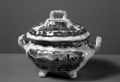 J & J Jackson. <em>Tureen Cover</em>, ca. 1835. Earthenware Brooklyn Museum, Gift of Mrs. William C. Esty, 63.186.82b. Creative Commons-BY (Photo: , 63.186.82a-b_acetate_bw.jpg)