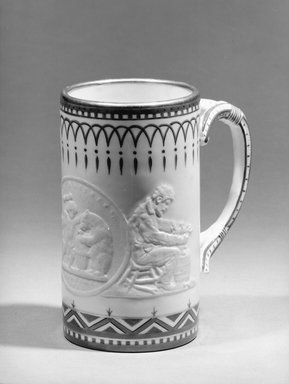 Union Porcelain Works (1863-ca. 1922). <em>Cylindrical Mug</em>, 1882. Porcelain, 5 1/2 x 3 1/8 x 3 1/8 in. (14 x 7.9 x 7.9 cm). Brooklyn Museum, Gift of Mr. and Mrs. Samuel Schwartz, 63.188. Creative Commons-BY (Photo: Brooklyn Museum, 63.188_acetate_bw.jpg)