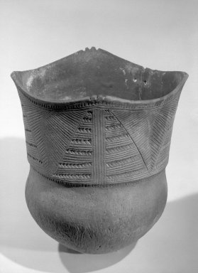 Iroquois. <em>Cooking or Storage Jar</em>, 1350-1600 C.E. Clay, height: 15 in. (38.1 cm). Brooklyn Museum, Dick S. Ramsay Fund, 63.201.5. Creative Commons-BY (Photo: Brooklyn Museum, 63.201.5_acetate_bw.jpg)