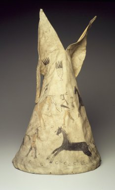Arapaho. <em>Miniature Tipi with Painted Battlescene</em>, 19th century. Hide, pigment, wood, 22 13/16 x 13 x 13 in. (57.9 x 33 x 33 cm). Brooklyn Museum, Dick S. Ramsay Fund, 63.201.8. Creative Commons-BY (Photo: Brooklyn Museum, 63.201.8.jpg)