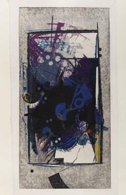 Hodaka Yoshida (Japanese, 1926-1995). <em>Cause, Blue</em>, 1962. Woodcut in color Brooklyn Museum, Frederick Loeser Fund, 63.210.1. © artist or artist's estate (Photo: Brooklyn Museum, 63.210.1_IMLS_PS4.jpg)