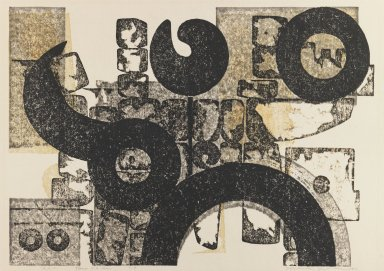 Hodaka Yoshida (Japanese, 1926-1995). <em>Stones and a Man</em>, 1956. Relief print on paper, Sheet: 16 3/16 × 22 1/16 in. (41.1 × 56 cm). Brooklyn Museum, Frederick Loeser Fund, 63.210.2. © artist or artist's estate (Photo: Brooklyn Museum, 63.210.2_IMLS_PS3.jpg)