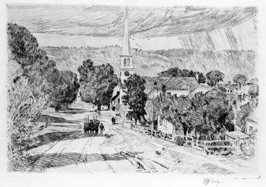 Frederick Childe Hassam (American, 1859-1935). <em>A Vermont Village (Peacham)</em>, 1923. Etching Brooklyn Museum, Gift of Joseph S. Gotlieb, 63.234.4 (Photo: Brooklyn Museum, 63.234.4_bw.jpg)