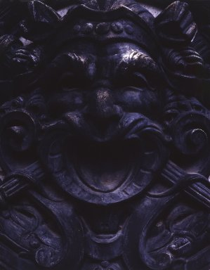 Herts and Tallant. <em>Plaque with Theatrical Mask, One of Four, from the Brooklyn Academy of Music, Brooklyn, NY</em>, 1908. Cast iron, 30 x 30 x 6 in. (76.2 x 76.2 x 15.2 cm). Brooklyn Museum, Gift of Anonymous Arts Recovery Society, 63.239.3. Creative Commons-BY (Photo: , 63.239.2-.5.jpg)