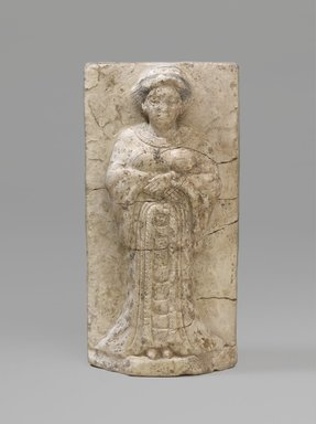 <em>Woman or Goddess</em>, middle of 4th century B.C.E. Limestone, pigment, 5 7/8 x 3 in. (15 x 7.6 cm). Brooklyn Museum, Charles Edwin Wilbour Fund, 63.37. Creative Commons-BY (Photo: Brooklyn Museum, 63.37_PS9.jpg)