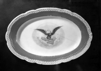 Possibly American. <em>Oval Platter</em>, Circa 1860. Porcelain, 6 5/8 × 10 in. (16.8 × 25.4 cm). Brooklyn Museum, Bequest of Marguerite E. DeWitt, 63.39. Creative Commons-BY (Photo: Brooklyn Museum, 63.39_acetate_bw.jpg)