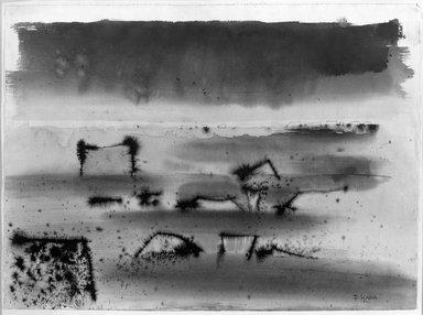 France Slana (Slovenian, born 1926). <em>Rocks II</em>, 1962. Watercolor, ink washes, 12 x 19 in. (30.5 x 48.3 cm). Brooklyn Museum, Caroline A.L. Pratt Fund, 63.51. © artist or artist's estate (Photo: Brooklyn Museum, 63.51_acetate_bw.jpg)