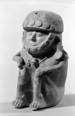 Chancay. <em>Warrior Figure</em>, 12th-13th century. Ceramic, (26.0 x 17.5 cm). Brooklyn Museum, Charles Stewart Smith Memorial Fund, 63.55.2. Creative Commons-BY (Photo: Brooklyn Museum, 63.55.2_acetate_bw.jpg)