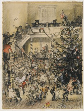 William Glackens (American, 1870-1938). <em>Merry Christmas (Yuletide Revels)</em>, ca. 1910. Graphite, Conté crayon, ink, and transparent and opaque watercolor on laminated board adhered to wood pulp board, Sheet: 24 3/8 x 18 1/2 in. (61.9 x 47 cm). Brooklyn Museum, Gift of Ira Glackens, 63.58 (Photo: Brooklyn Museum, 63.58_PS6.jpg)