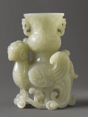<em>Carved white jade vase</em>, early 19th century. Jade, 4 5/8 x 3 1/4 x 2 1/2 in. (11.7 x 8.3 x 6.4 cm). Brooklyn Museum, Gift of Mrs. Walter N. Rothschild, 63.6.30. Creative Commons-BY (Photo: Brooklyn Museum, 63.6.30_PS4.jpg)