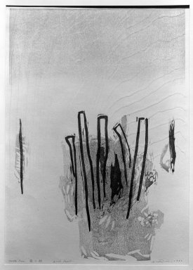 Ansei Uchima (American, 1921-2000). <em>Frosty Morn</em>, 1962. Woodcut on paper, 20 x 14 in. (50.8 x 35.6 cm). Brooklyn Museum, Carll H. de Silver Fund, 63.65.2. © artist or artist's estate (Photo: Brooklyn Museum, 63.65.2_acetate_bw.jpg)